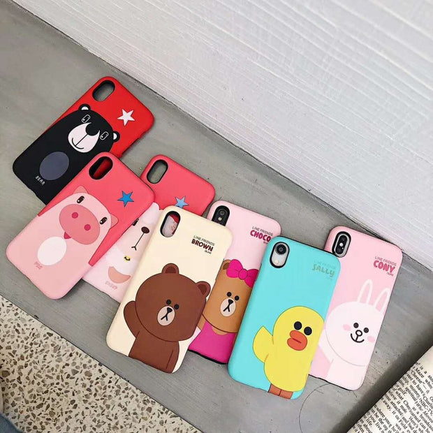 Cartoon Brown Bear Cony Choco Pig Sheep Silicone+PC Double Protection Matte Phone Case For IPhone XS XR XS MAX X 6 6S 7 8 Plus
