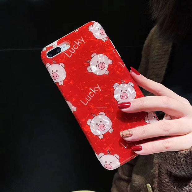 Cartoon Lucky Pig Glossy Phone Case For IPhoneX Xs Xr Xs Max Cute Conch Shell Red Phone Cover Case For Iphone6 6s 6plus 7 8plus