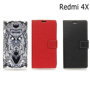 Case For Xiaomi Redmi 4X Litchi Pattern Wallet Card Photo Frame Pu Leather Stand Flip Case Cover For Xiaomi Redmi 4X Red Mi 4X