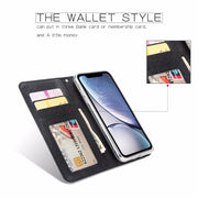 Case For IPhone 6 6s 7 8Plus X XR XS MAX Card Wallet Case Detachable Cover PU Card Cover Luxury Business Leather Cross Lines