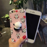 Case Funny 3D Soft Stress Reliever Squishy Chubby Panda Soft Skin Frosted TPU Back Phone Cover Kawaii Bag For IPhone 8 6s 7 Plus