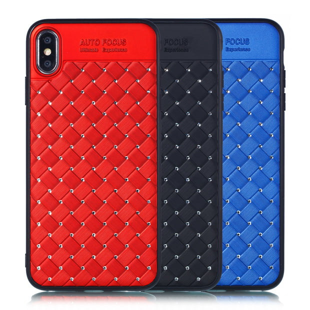 Case For Iphone Xs Max Luxury Grid Weaving Pattern Glitter Diamond Back Cover + Tpu Bumper For Iphone Xr Phone Case For Iphone X