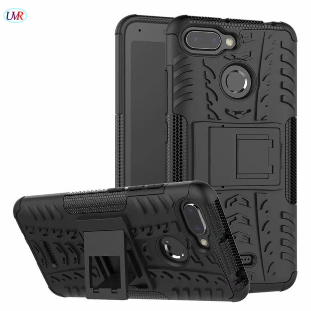 Case For Xiaomi Redmi 6A Hybrid PC+TPU Shockproof Kickstand Phone Case Cover