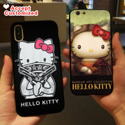 Case For IPhone 10 X XS Max XR 6 6S 7 8 Plus 5 5S SE Lovely Hello Kitty Cover For Samsung Galaxy Note 8 9 S6 S7 Edge S8 S9 Plus