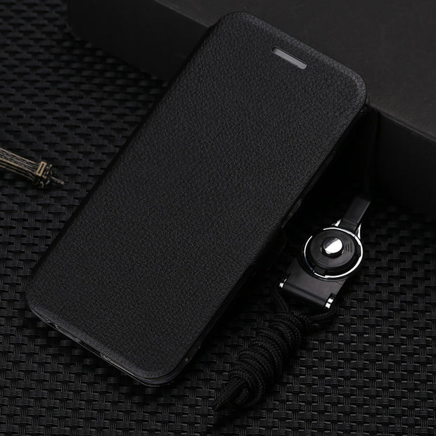 Cases For Xiaomi Mi Play Case Flip Leather Slim Soft Back Phone Cover Plating Soft TPU Protective Xiomi Mi Play Lanyard