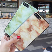 Colors Tempered Glass Phone Cases For Apple Iphone 7 8 Plus X 6s 6 Plus Luxury Marble Design Tempered Glass Case Covers Funda