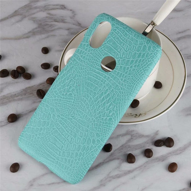 Coque For Case On Xiaomi Redmi 6 Pro 6A Xiomi Mi A2 Lite Cover Back Leather Hard Plastic Luxury Shockproof Blue Crocodile Thin