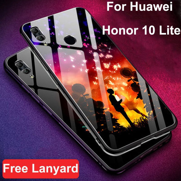 Coque For Huawei Honor 10 Lite HRY-AL00 Case Tempered Glass + Soft Edge  Cover For Honor 10 Lite Glass Cases Honor10lite Shell