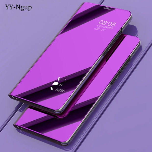 Coque For Samsung Galaxy A6 2018 Luxury Flip Mirror Phone Case On For Samsung A6 Plus A6Plus 2018 Stand Holder Case Cover Etui