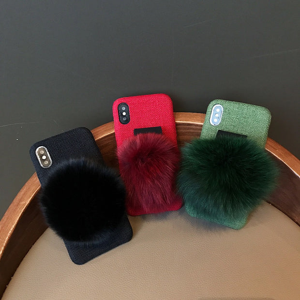 Cotton And Linen Solid Color Fox Fur Ball Bracelet Case For Apple IPhone XR XS X 6 6S 7 8 Plus Korea Cover For IPhone XS Max