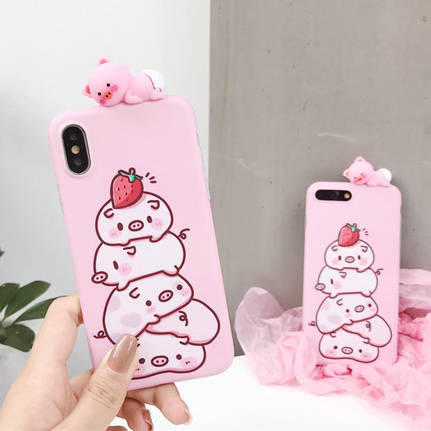 Cute Cartoon 3D Animal Soft TPU Phone Case Cover Pink For Pig Pattern IPhone