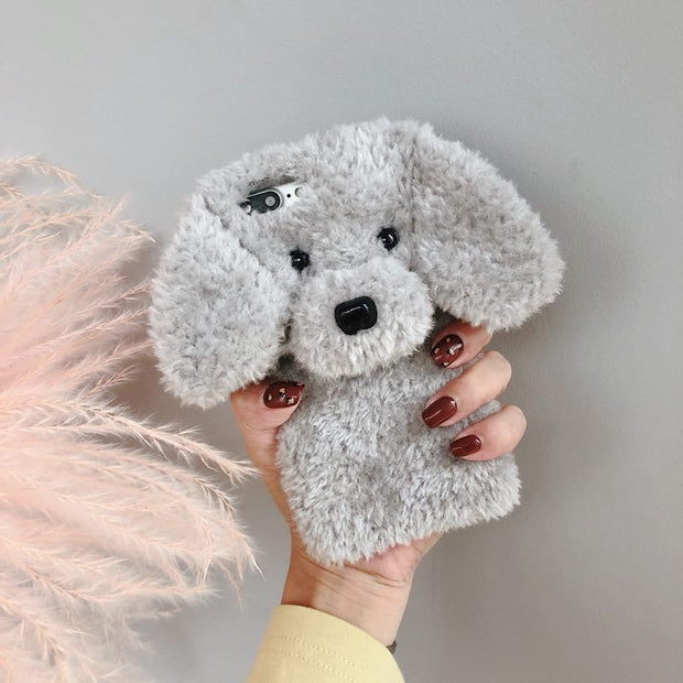 Cute Rabbit Hair Dog Plush Phone Case For IPhone 7 Fur Fluffy Warm Soft Cover For IPhone XS Max X S XR 8 8plus 7 7plus 6/6s Plus