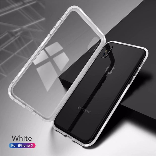 DISCASE Anti-fall PC Hard Shell Phone Case For Iphone 8 7 6 6s Plus X Tempered Glass Shell Magnetic King Frame Transparent Cover