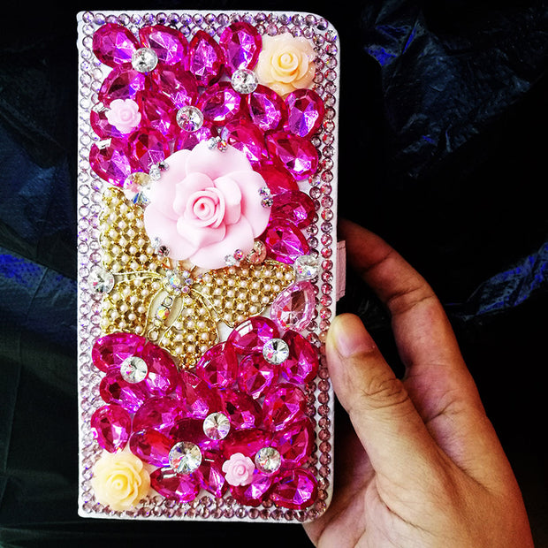 DIY Butterfly Flower Pink Crystal Diamond Flip Leather Wallet Case Capa For Huawei P20 Lite P20 Pro P10 Lite P8 P9 Lite 2017