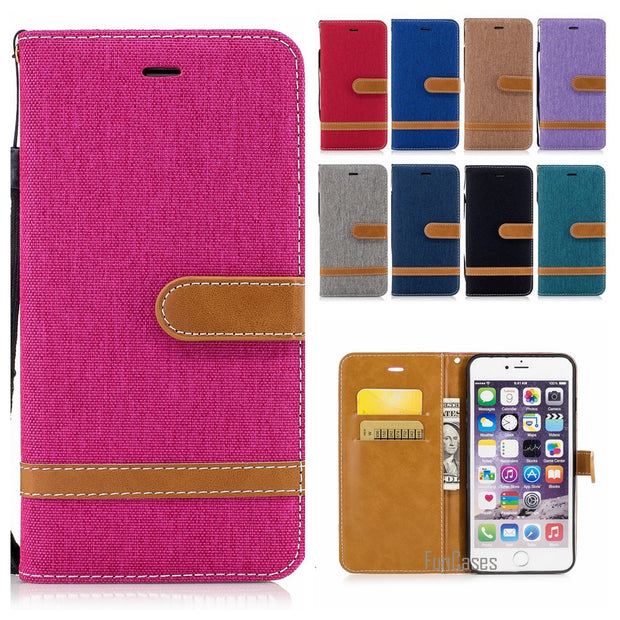 Denim Jeans Stand Case For Apple IPhone 6S 7 Plus 5S Colorful Wallet Case For IPhone 6 Plus 5 SE Mr Wonderful Phone Bag Capinhas