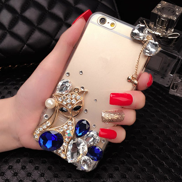 Diamond Case For Huawei P8 P9 P10 P20 Lite Plus Mate7 8 9 10 Capa Rhinestone Transparent Luxury Bling Cover With Fox Bowknot