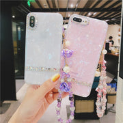 Diamond Handmade Crystal Flower Handwrap Phone Case For IPhone 7 8 Plus Dream Shell Pattern Cases For IPhone X 8 7 6 6S Plus