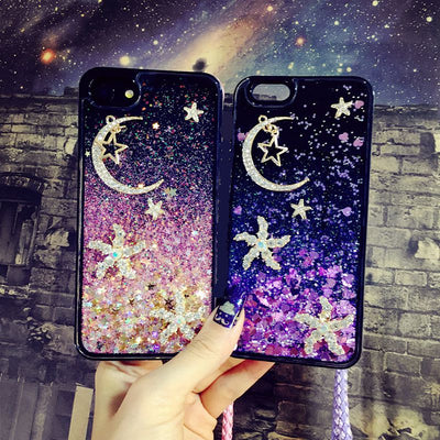 Diamond Starfish Moon Strap Liquid Phone Case For IPhone 6 6s 7 8 Plus XS Max XR For Samsung Galaxy S7 Edge S8 S9 Plus Note 8 9