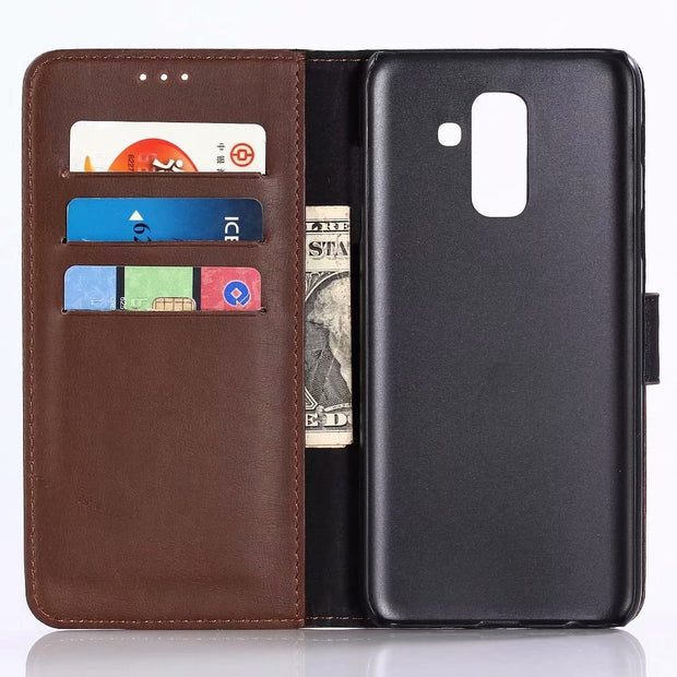 Dir-Maos For Samsung Galaxy A6 Plus 2018 CASE A6+ Leather Flip Cover Business Wallet Credit Card Slot Pocket Fold Stand Cool Men