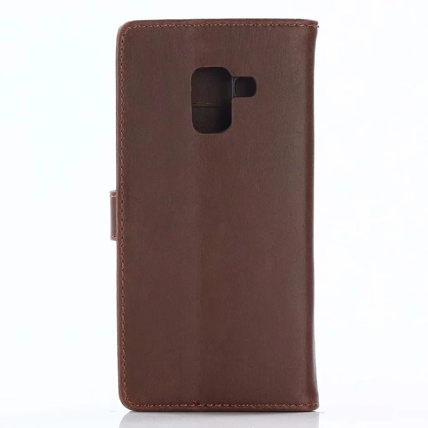 Dir-Maos For Samsung Galaxy A8 2018 CASE Leather Flip Cover Business Wallet Credit Card Slot Money Pocket Fold Stand Men
