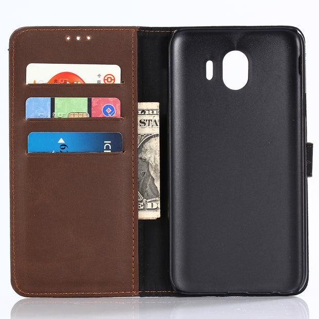 Dir-Maos For Samsung Galaxy J4 2018 CASE Leather Flip Cover Business Wallet Credit Card Slot Money Pocket Fold Stand Cool Men