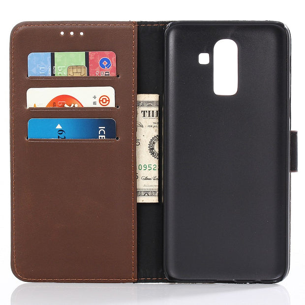 Dir-Maos For Samsung Galaxy J8 2018 CASE Leather Flip Cover Business Wallet Credit Card Slot Money Pocket Fold Stand Cool Men