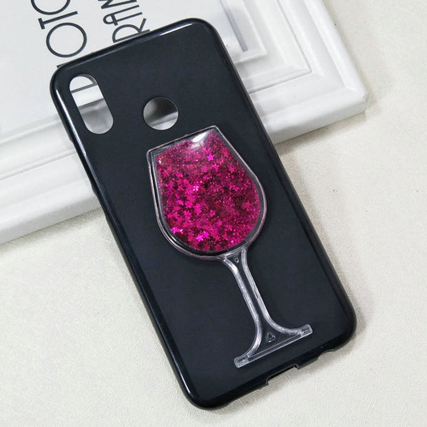 Dneilacc For Huawei 20 Lite Plus 20lite 20Plus Silicone Case Dynamic Glitter Liquid Quicksand Lovely Wine TPU Phone Cover