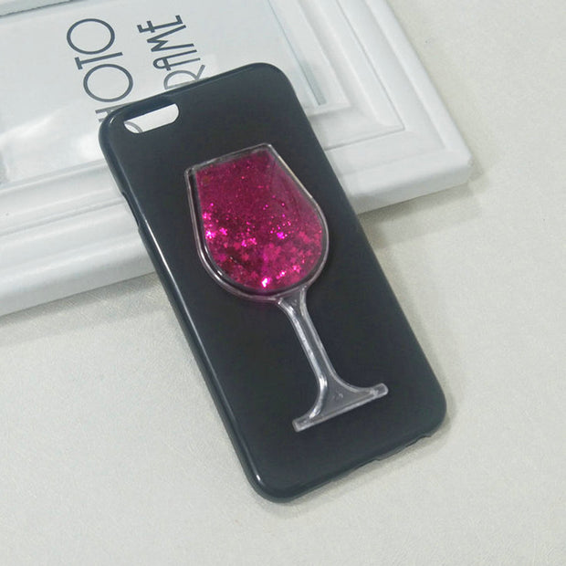 Dneilacc Silicone Case For Apple Iphone 6 7 6s 8 X Plus XS MAX XR XS Dynamic Glitter Liquid Quicksand Lovely Wine TPU Cover