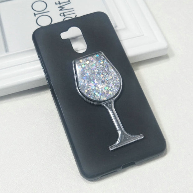 Dneilacc Silicone Case For Oukitel U15 Pro Dynamic Glitter Liquid Quicksand Lovely Wine TPU Phone Cover For Oukitel U15 Pro