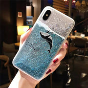 Dolphin Shark Glitter Case For IPhone 6 6s 7 8Plus Soft TPU For IPhone XS All-inclusive Fitted Case Capa Fundas Back Cover