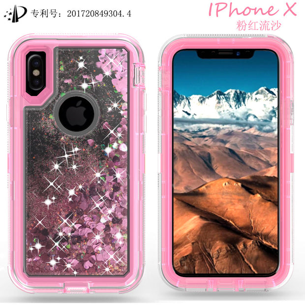 Dynamic Love Heart Liquid Quicksand TPU Soft Case For IPhone 6 7 8 Plus X XS Hard PC Fashion 360 Degree Protective Phone Covers