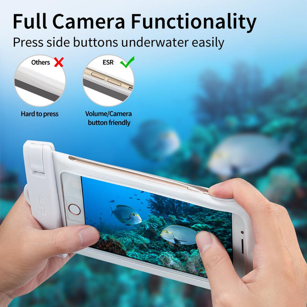 ESR 6'' Universal IPX8 Waterproof Case For IPhone X 8 8 Plus 7 7 Plus 6 6s Plus Samsung S9 S8 Plus S7 Waterproof Pouch Swimming