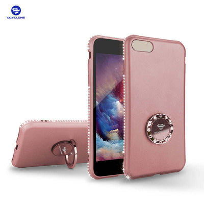 Elegant Cover For Iphone 7 Case Ring Diamond Case For Iphone 6 6splus Case Glitter Sleek Cover For Iphone 8 7plus Case Ring Rose