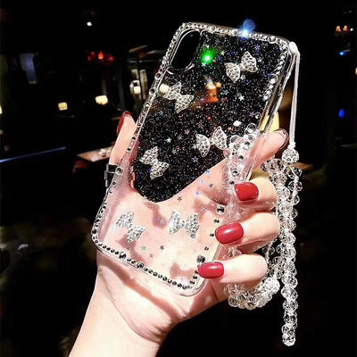 Fancy Cute Rhinestone Bow Crystal Strap Glitter Star Epoxy Phone Case For Huawei P8 P9 P10 P20 Lite Plus 2017 V10 Pro