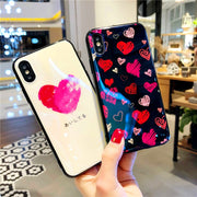 Fashion 3D LOVE-Heart Blue-ray Paint Phone Case For IPhone 8 X Soft TPU Back Cover Cases Coque For IPhone7 8 6 6s Plus