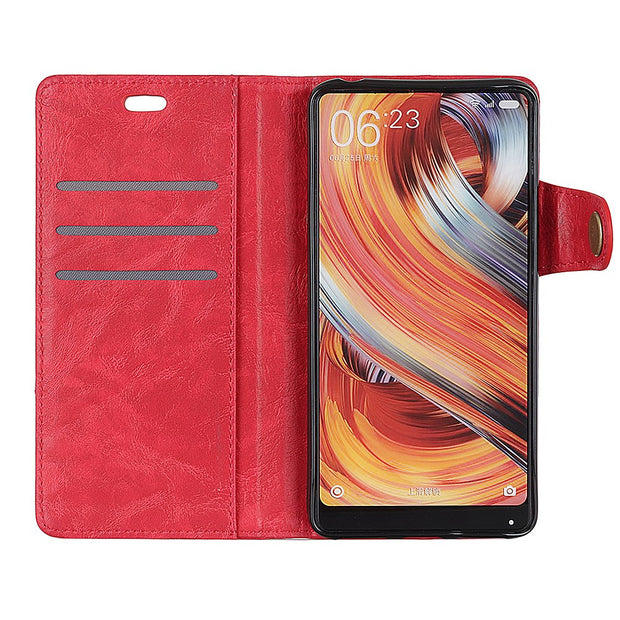 Fashion Crazy Horse Pattern PU Leather Magnetic Snap Flip Cover Stand Wallet Card Money Slots Case For Motorola MOTO P40
