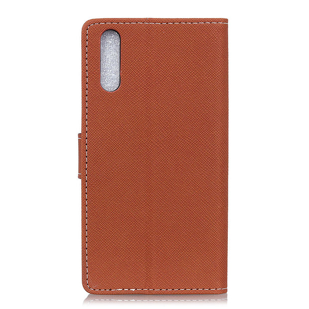 Fashion Cross Pattern PU Leather Flip Cover Stand Case For Sony Xperia L3 Magnetic Snap Wallet Card Money Slot Case For Sony L3