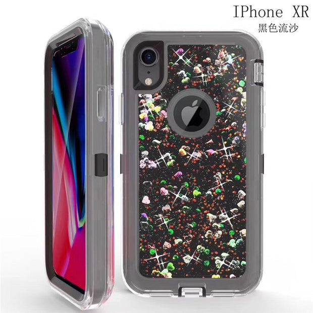 Fashion Dynamic Love Heart Liquid Quicksand Soft Case For IPhone XR XSMAX 360 Degree Protective Shockproof 3-Layers Anti Knock