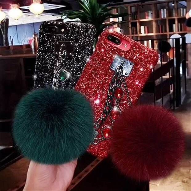 Fashion Hair Ball Lanyard Round Shiny Diamond Hand Catenary Soft Cover Case For Iphone MAX XS XR 7 8 Plus X Phone Cases