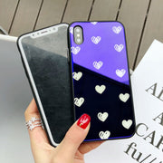 Fashion Love Heart With Blue Light Cell Phone Shell For IPhone X 8 Plus 6S 7 Plus Tempered Glass+Soft TPU Cover Protective Case