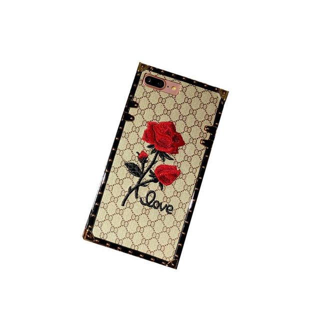 Fashion Rose Embroidery Square With Lanyard Mobile Floral, Letter Phone Cases For IPhone Unisex 6/7/8 S/Plus/XS/XR/XSmax