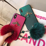Fashion Soft Fox Hair Fur Ball Bling Glitter Case Cover With Flower Strap For IPhone XS Max XR X 8 7 Plus Hair Ball Phone Case