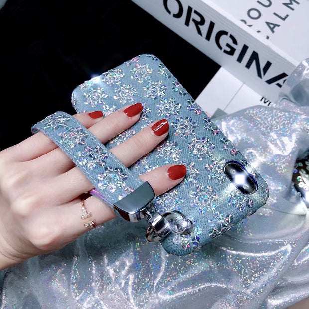 Fashion Luxury Denim Wristband Phone Case For IPhone 7 8 Plus 6 6s Plus X Glitter Shines Sequins Floral Trend Half Back Cover