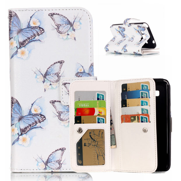 Fashion Wallet Flip Stand Leather Phone Bag For Samsung G530 J5 Cover Relief Painting Case Fundas For Samsung I9060 Note5