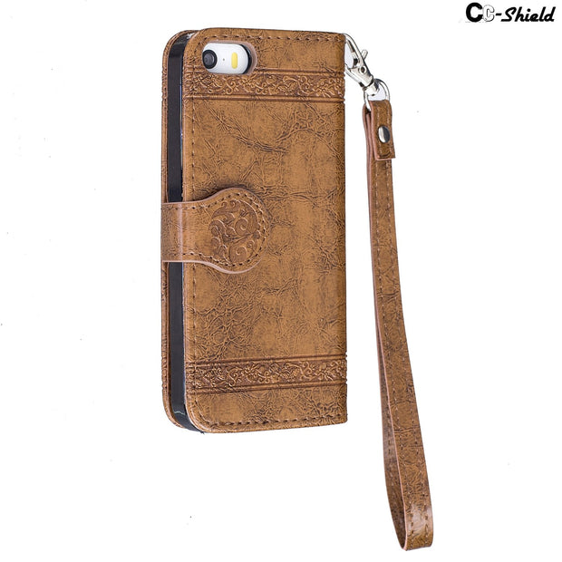Flip Case For Apple IPhone SE 5 S E 5S IPhoneSE Case Phone Leather Cover Retro Style Bag For Apple I Phone 5 5s S Phone5 Phone5s