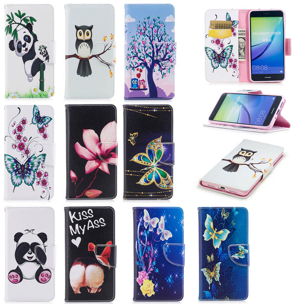 Flip Case For Huawei P10 Lite WAS-LX1 P10Lite Case Giant Panda Painted Phone Leather Cover For Huawei P 10 Lite WAS LX1 Cases