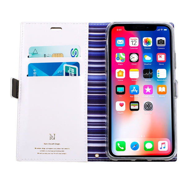 Flip Leather Case For IPhone Xs Max Men Women Business Rainbow Stripes Pattern Magnetic Cards Holder Phone Bags Wallet Cover
