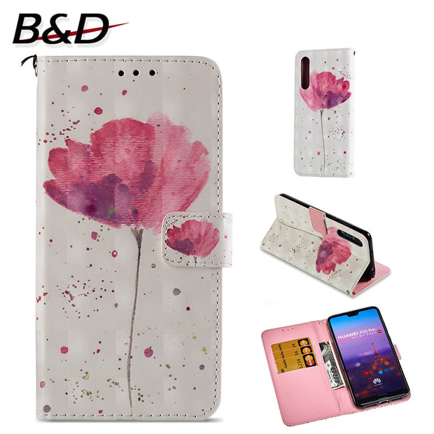 "Flip PU Leather Case For Huawei P20 Pro 6.1"" 3D Printed Wallet Bag With Stand Feature Card Slot Magnetic Clasp Protective Cover"