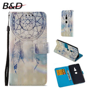 "Flip PU Leather Case For Sony Xperia XZ2 5.7"" 3D Printed Wallet Bag With Stand Feature Card Slot Magnetic Clasp Protective Cover"