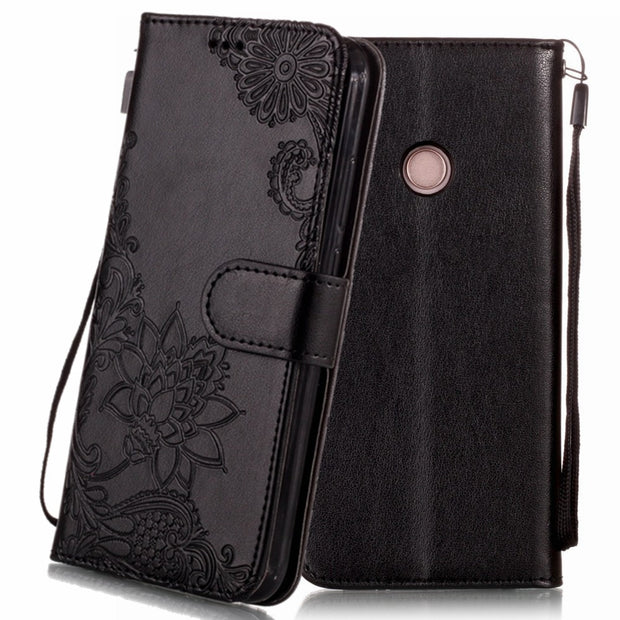 Flip PU Leather Wallet Stand Phone Case For Huawei P20 Pro Silicone Flower Cover Card Holders Cases For Huawei P20 Lite